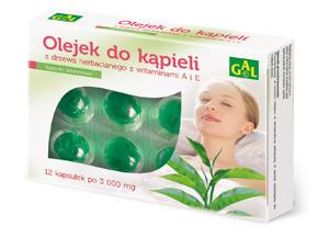 Olejek do kąpieli z drzewa herbacianego i witaminami A i E 3000 mg 12 kaps.